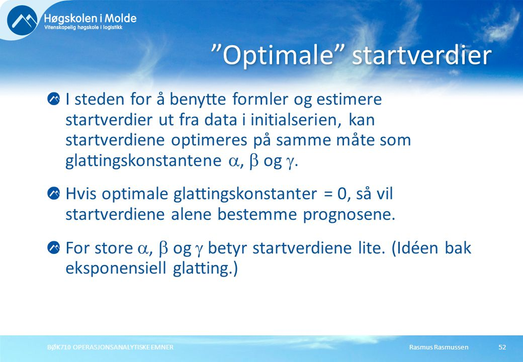 Optimale startverdier