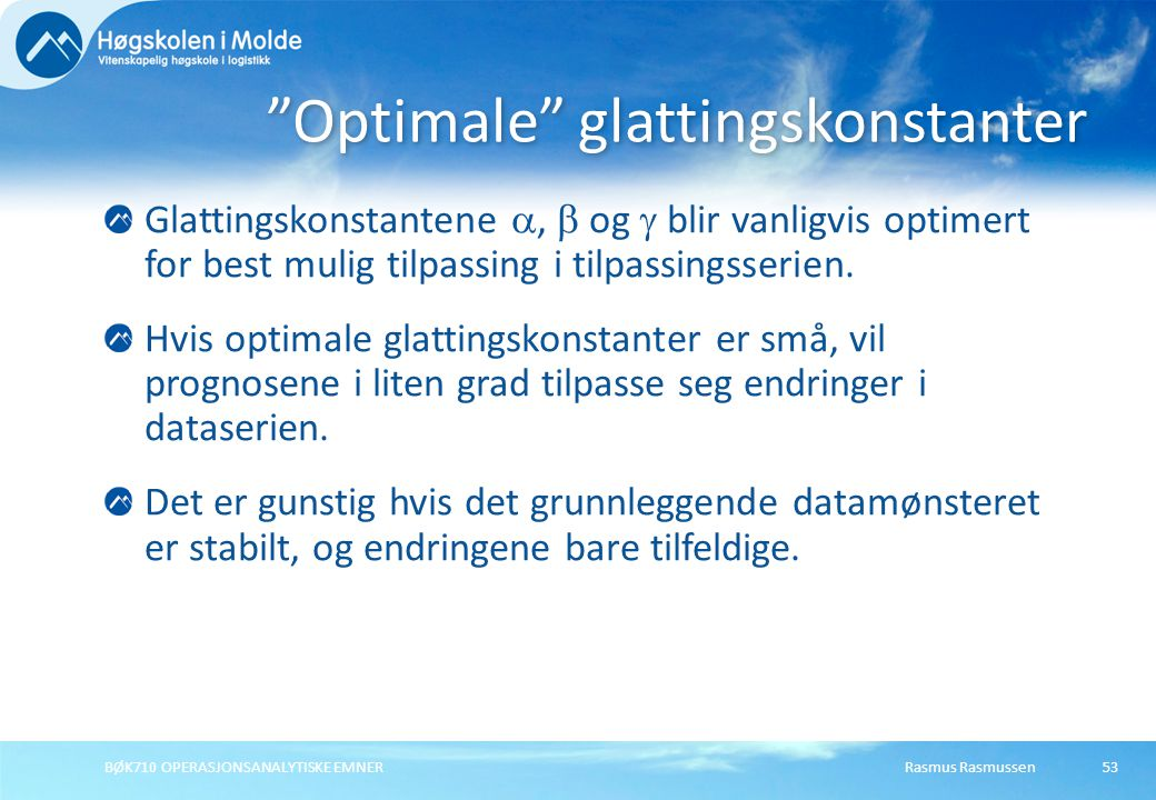 Optimale glattingskonstanter