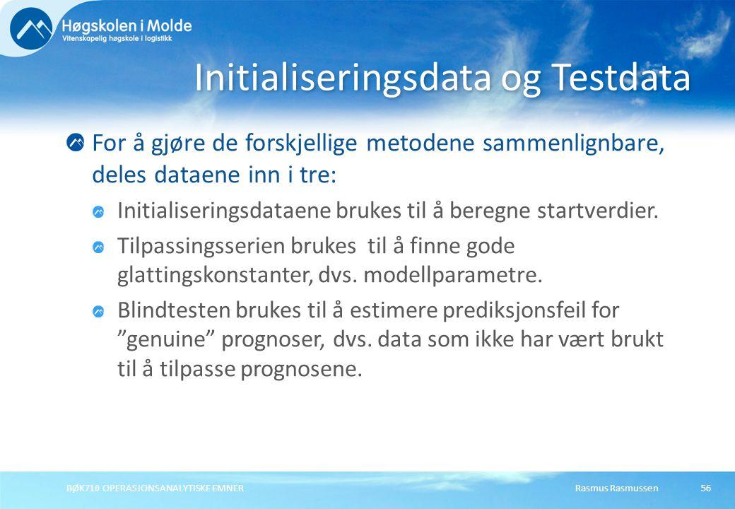 Initialiseringsdata og Testdata