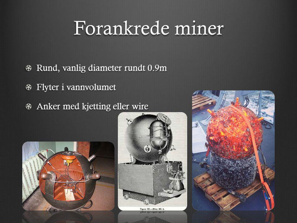 Forankrede miner Rund, vanlig diameter rundt 0.9m Flyter i vannvolumet