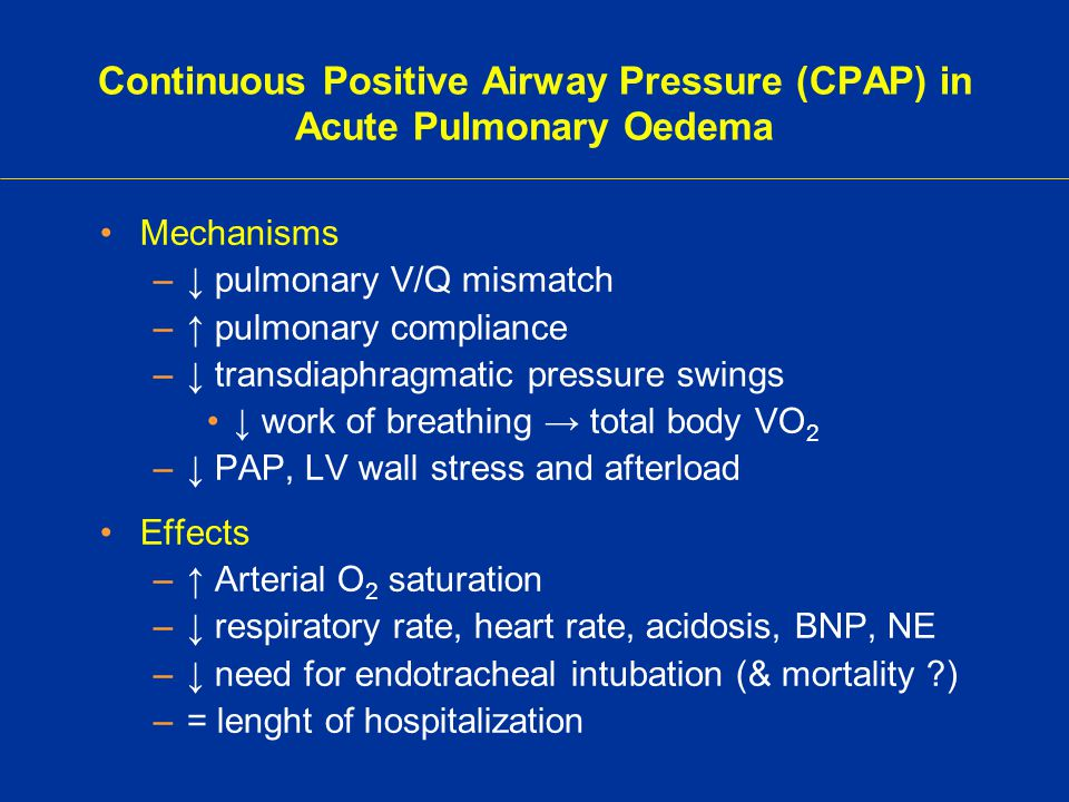 Continuous Positive Airway Pressure (CPAP) in Acute Pulmonary Oedema