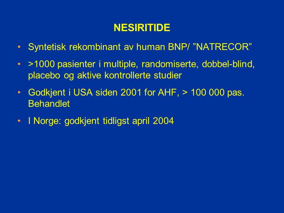 NESIRITIDE Syntetisk rekombinant av human BNP/ NATRECOR