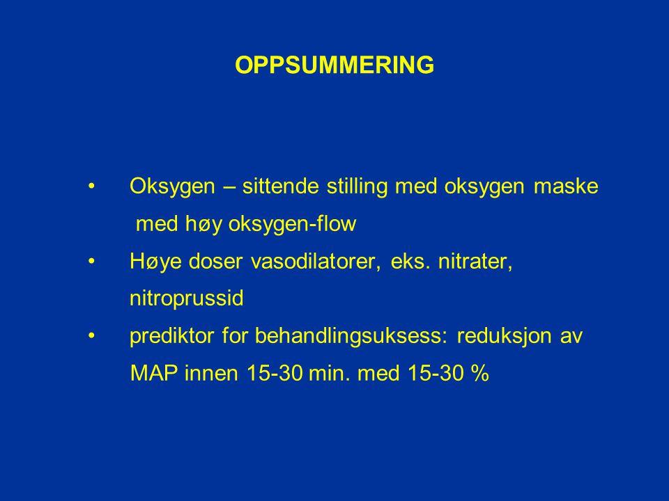 OPPSUMMERING • Oksygen – sittende stilling med oksygen maske
