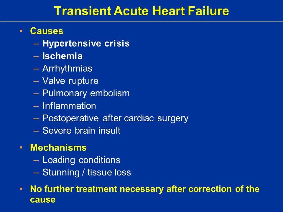 Transient Acute Heart Failure