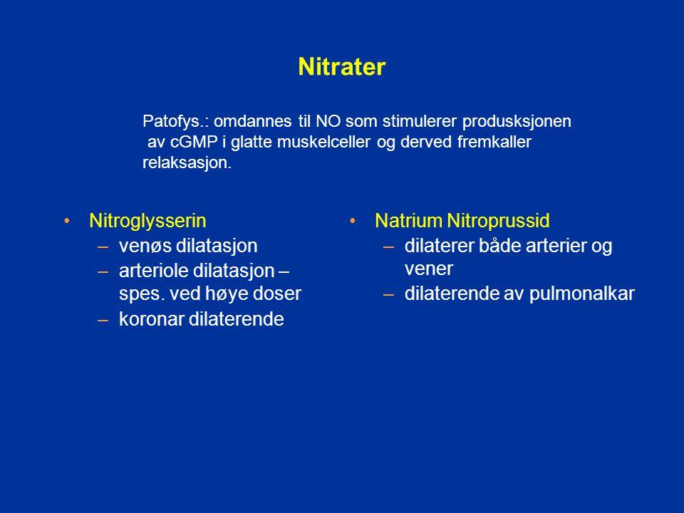 Nitrater Nitroglysserin venøs dilatasjon