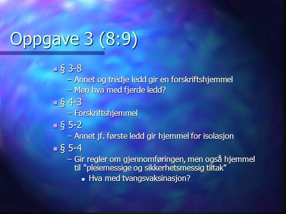 Oppgave 3 (8:9) § 3-8. Annet og tredje ledd gir en forskriftshjemmel. Men hva med fjerde ledd § 4-3.