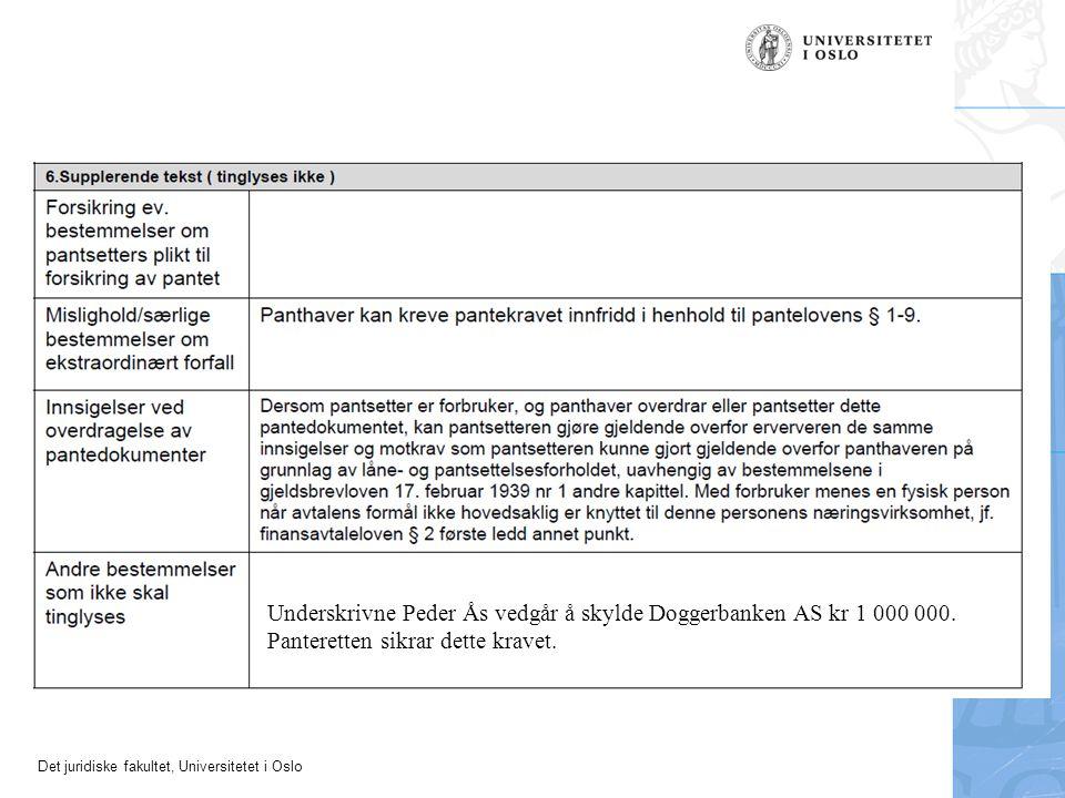 Underskrivne Peder Ås vedgår å skylde Doggerbanken AS kr 1 000 000.