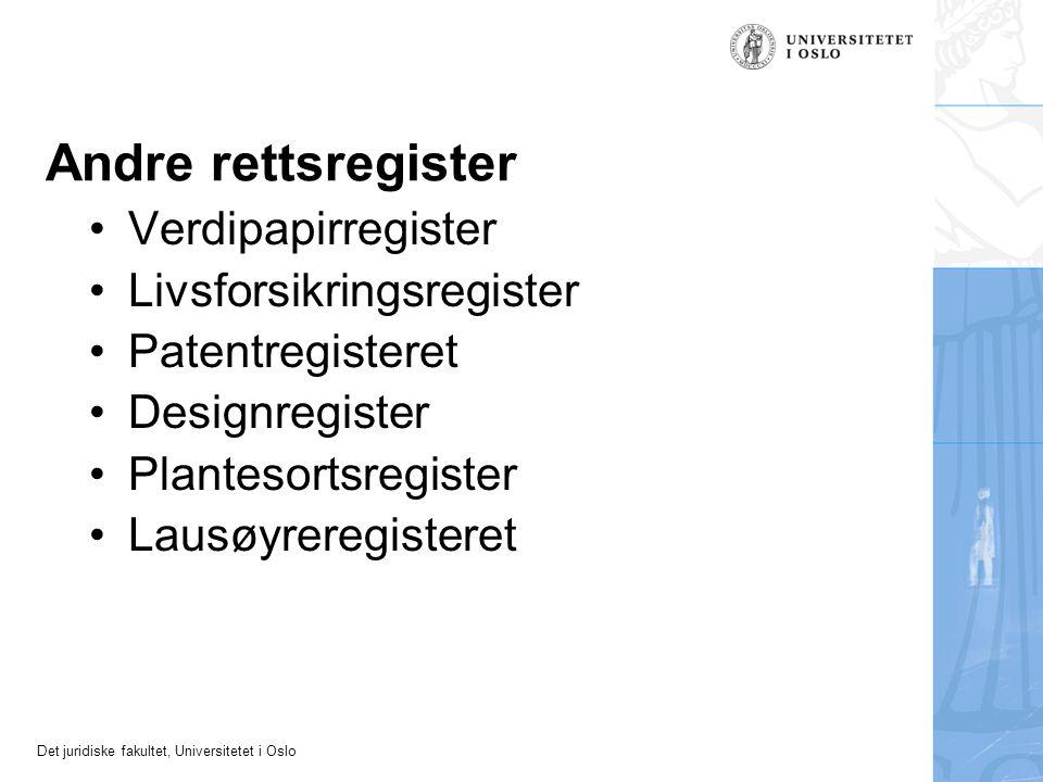 Andre rettsregister Verdipapirregister Livsforsikringsregister