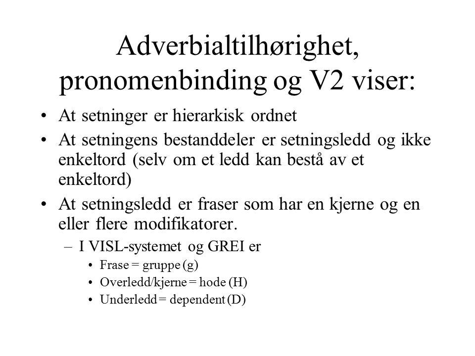 Adverbialtilhørighet, pronomenbinding og V2 viser: