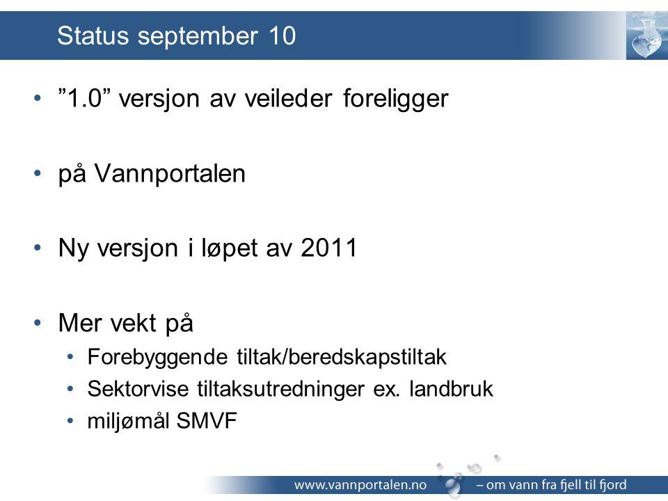 1.0 versjon av veileder foreligger på Vannportalen