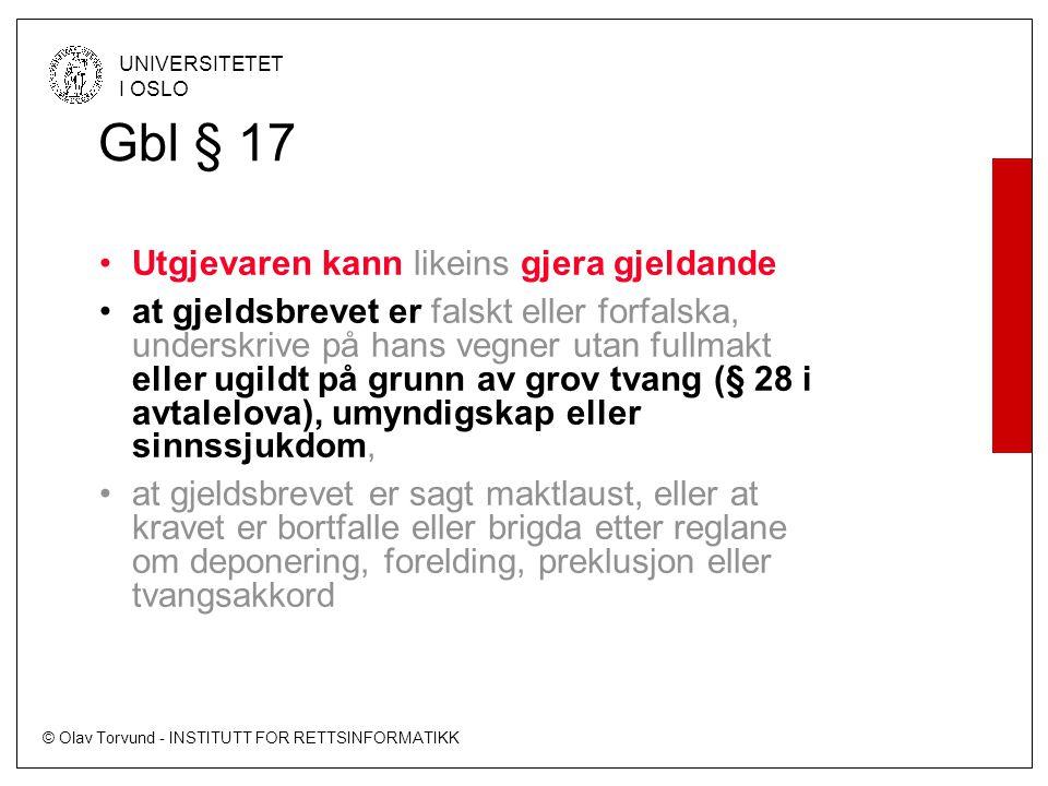 Gbl § 17 Utgjevaren kann likeins gjera gjeldande