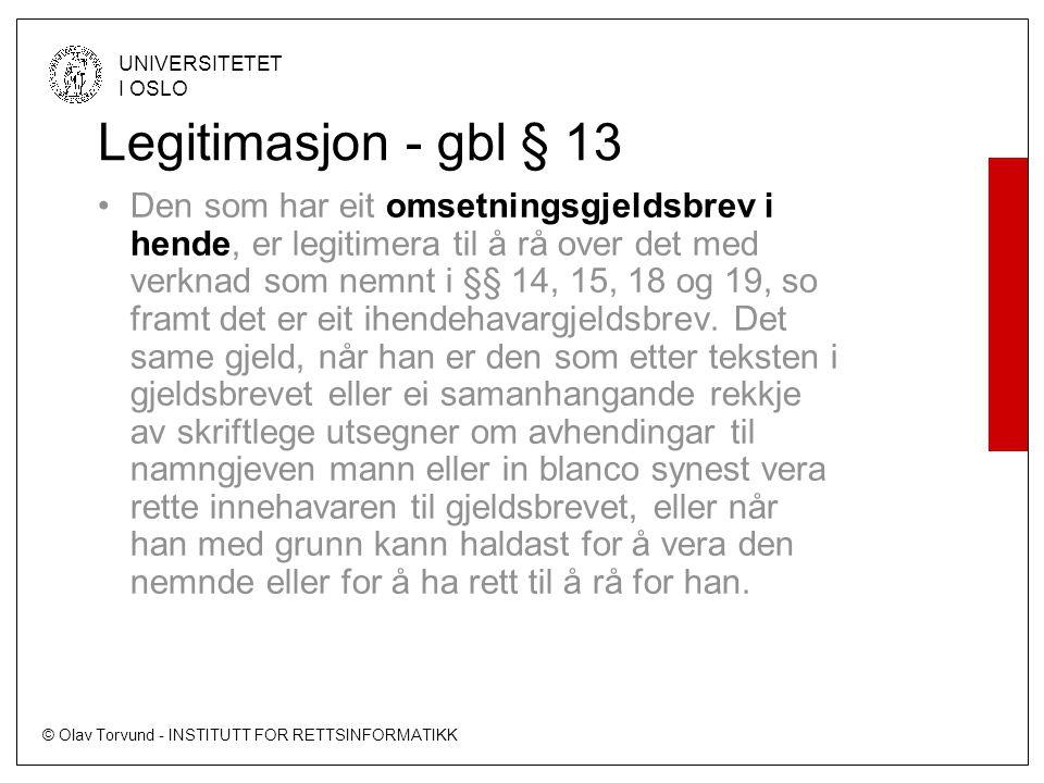 Legitimasjon - gbl § 13