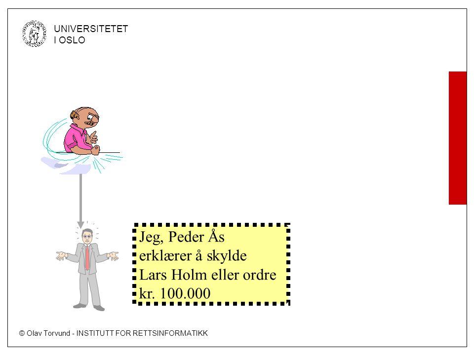Jeg, Peder Ås erklærer å skylde Lars Holm eller ordre kr. 100.000