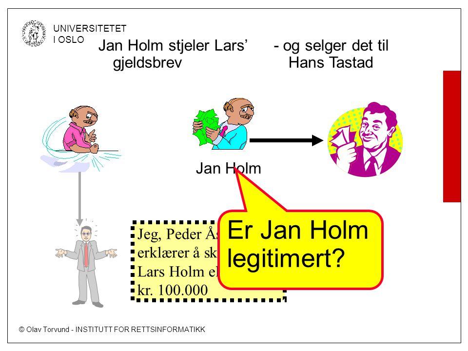 Er Jan Holm legitimert Jan Holm stjeler Lars' gjeldsbrev