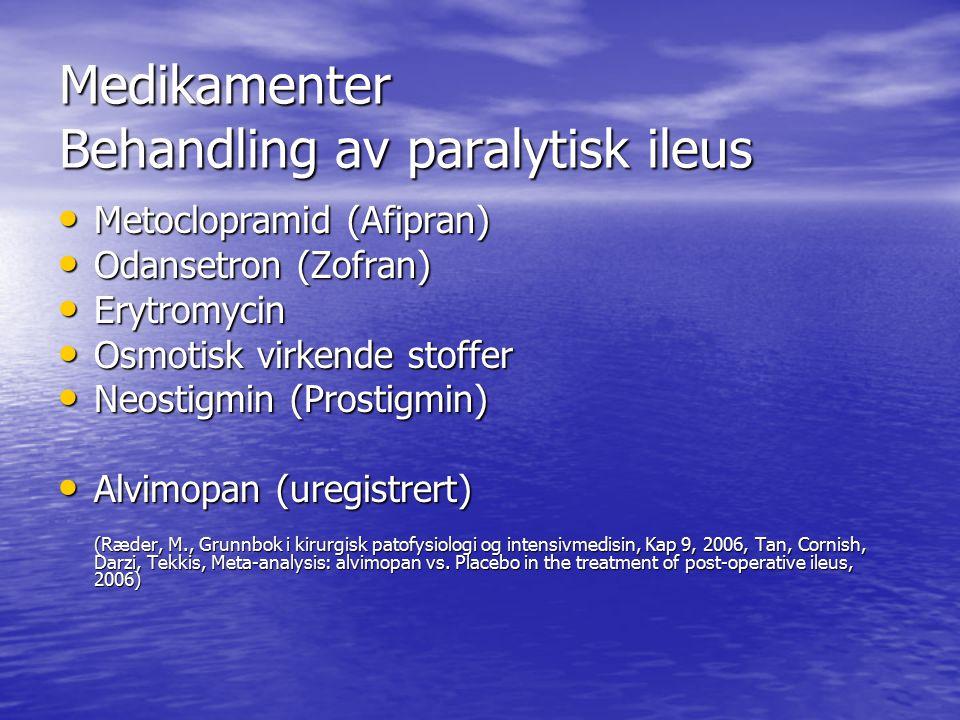 Medikamenter Behandling av paralytisk ileus