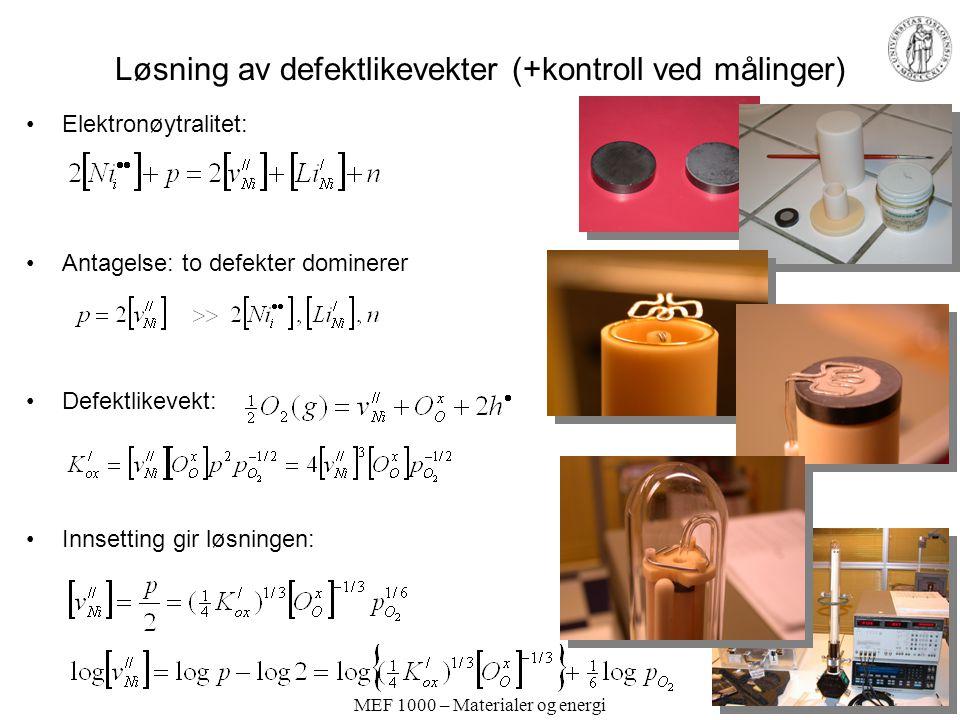 Løsning av defektlikevekter (+kontroll ved målinger)