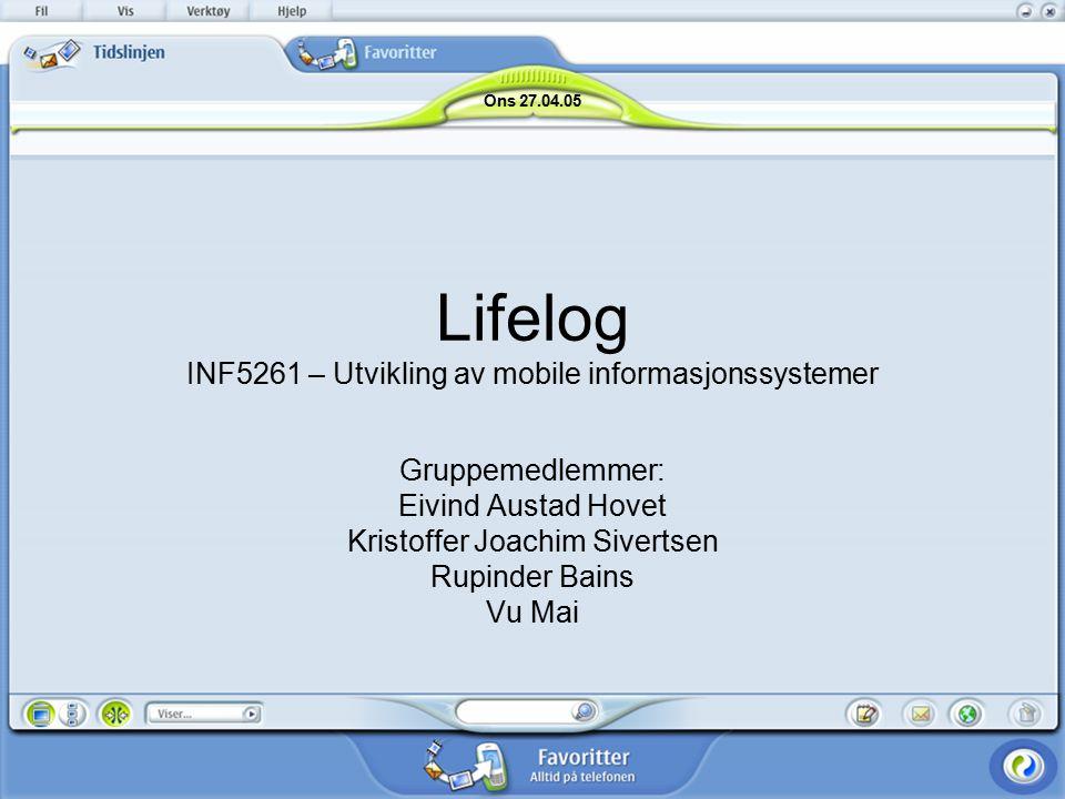 Lifelog INF5261 – Utvikling av mobile informasjonssystemer