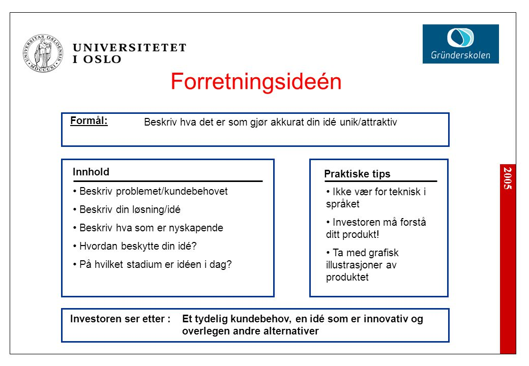 Forretningsideén Formål: