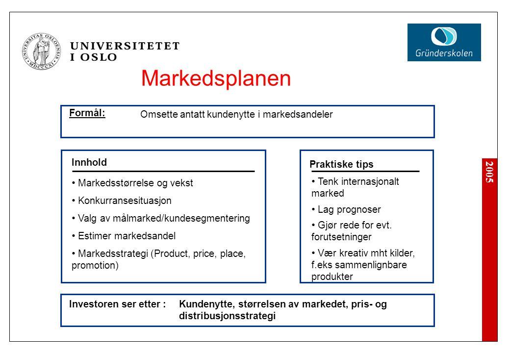 Markedsplanen Formål: Omsette antatt kundenytte i markedsandeler