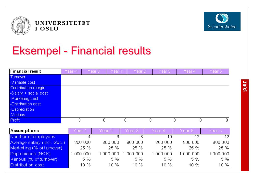 Eksempel - Financial results