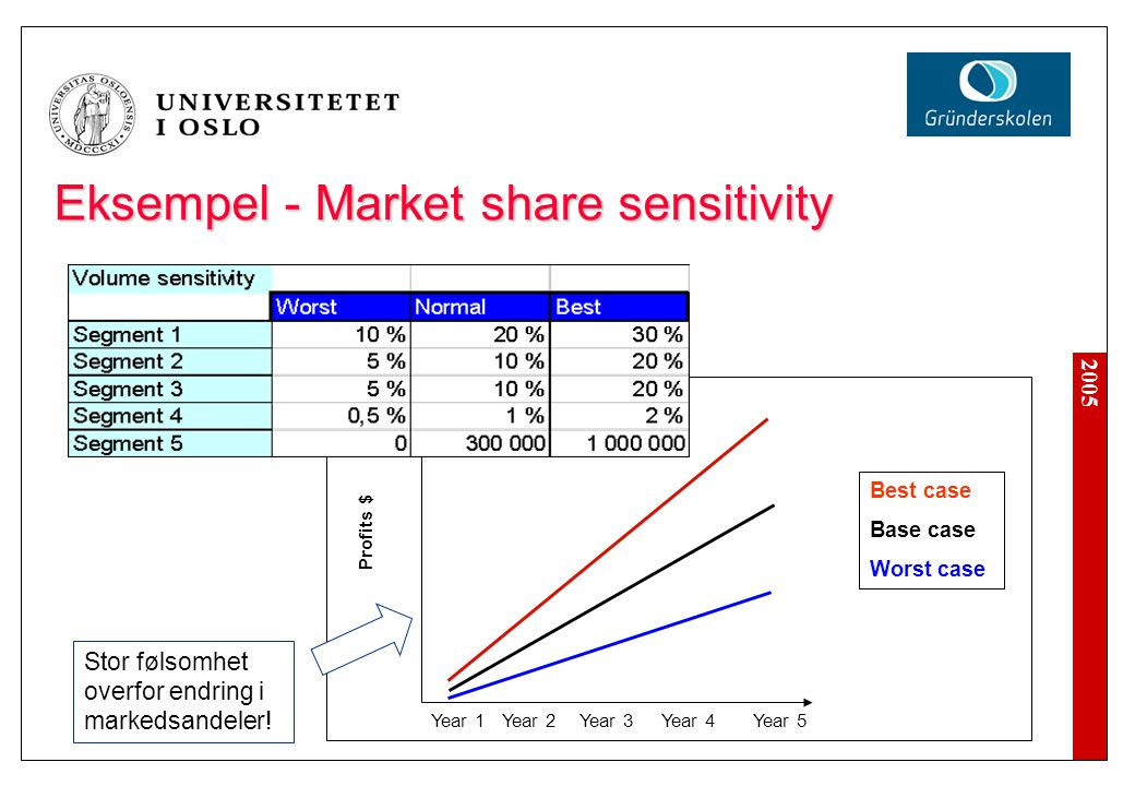 Eksempel - Market share sensitivity