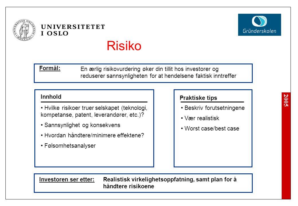 Risiko Formål: En ærlig risikovurdering øker din tillit hos investorer og reduserer sannsynligheten for at hendelsene faktisk inntreffer.