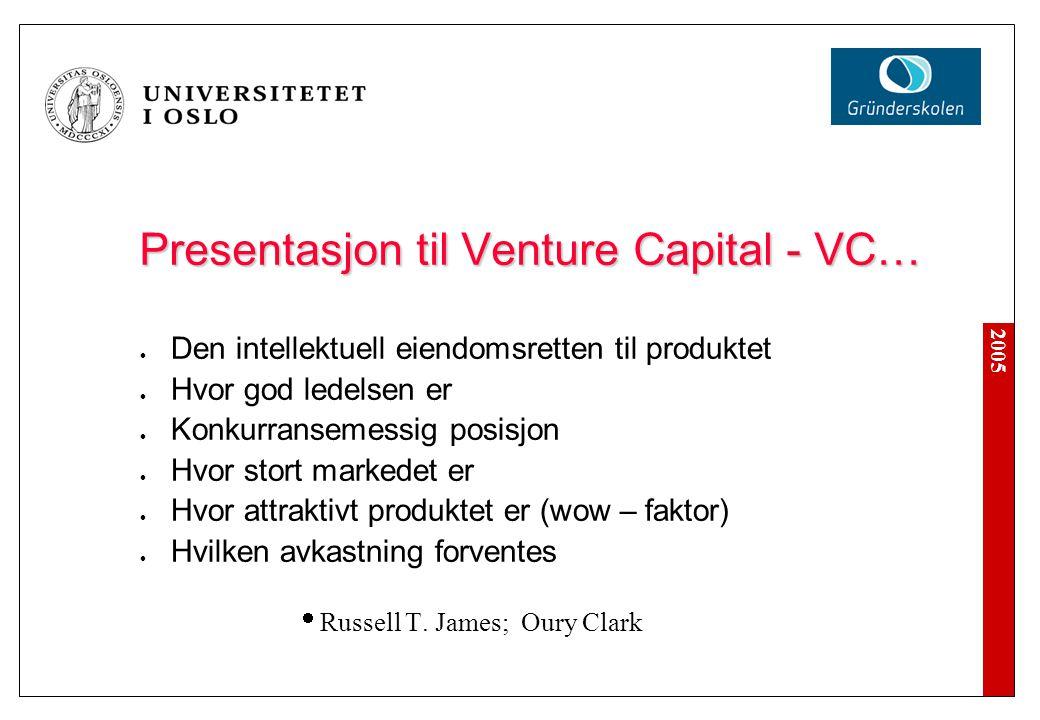 Presentasjon til Venture Capital - VC…