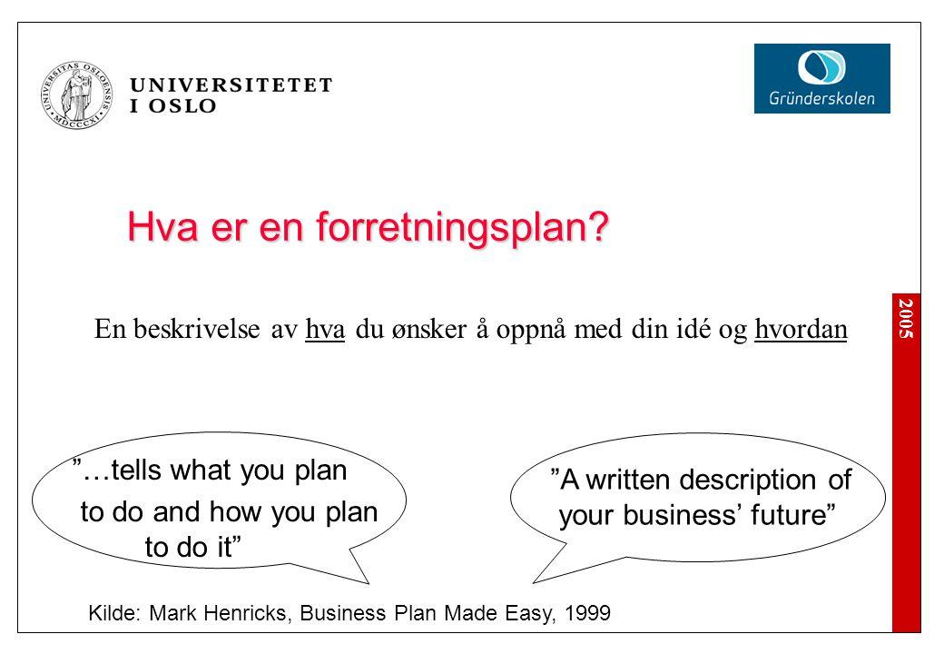 Hva er en forretningsplan