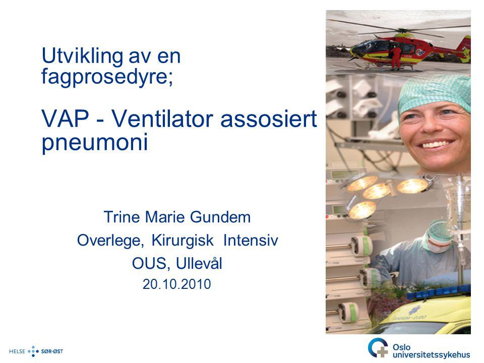 Utvikling av en fagprosedyre; VAP - Ventilator assosiert pneumoni