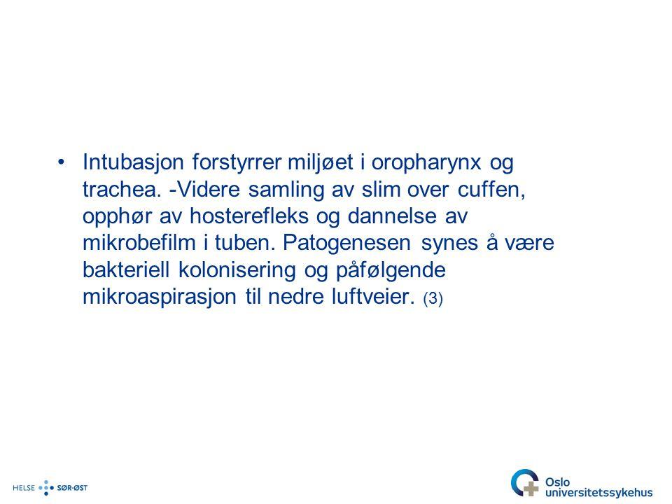 Intubasjon forstyrrer miljøet i oropharynx og trachea