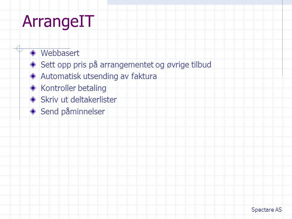 ArrangeIT Webbasert Sett opp pris på arrangementet og øvrige tilbud