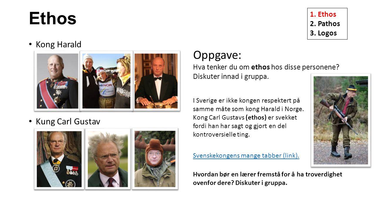 Ethos Oppgave: Kong Harald Kung Carl Gustav 1. Ethos 2. Pathos