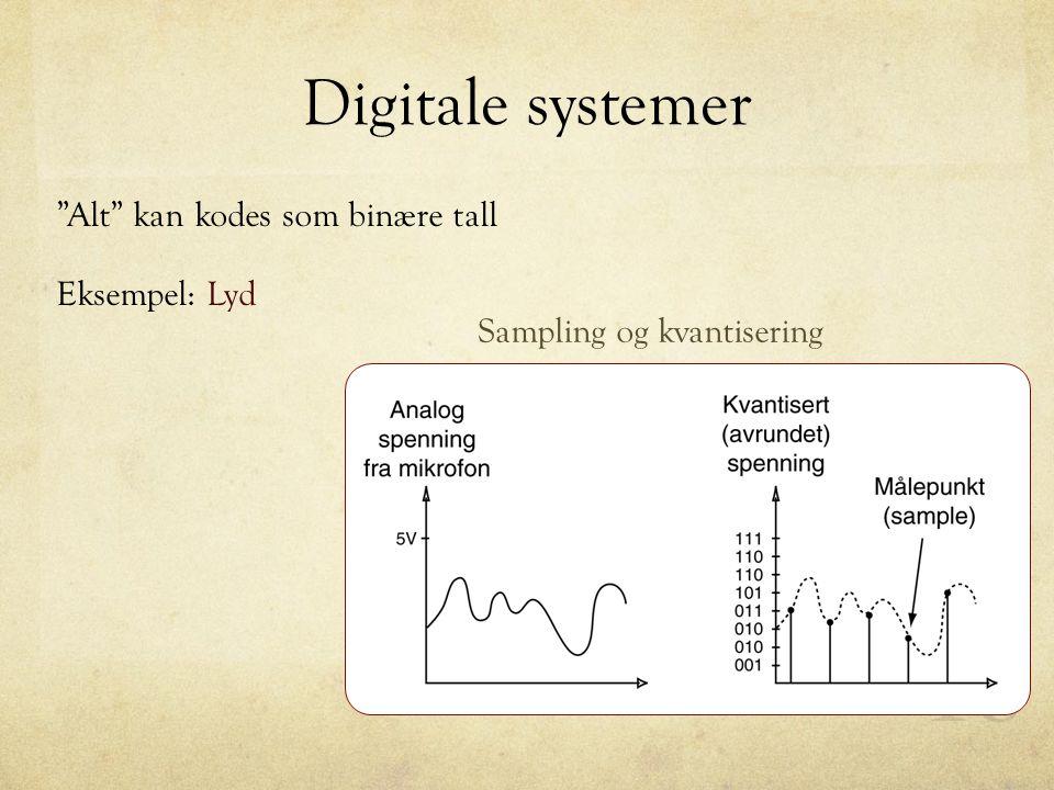 Digitale systemer Alt kan kodes som binære tall Eksempel: Lyd