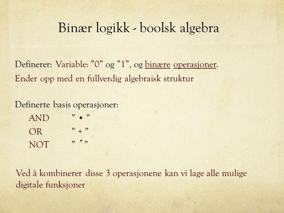 Binær logikk - boolsk algebra