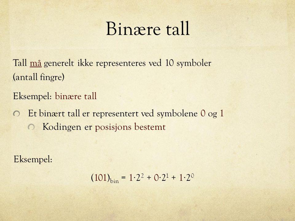 Binære tall Kodingen er posisjons bestemt