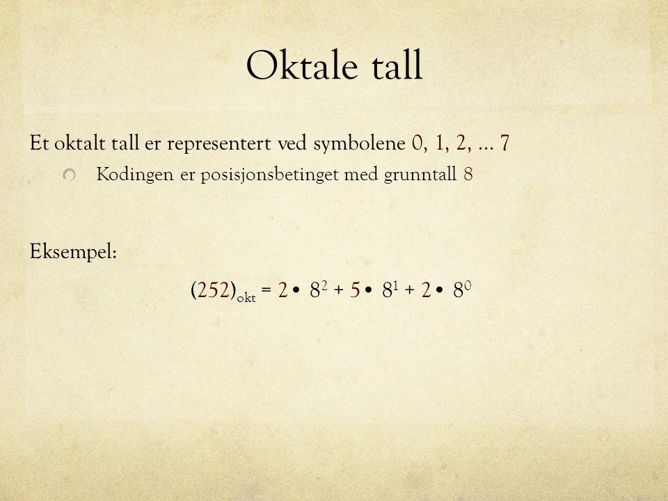 Oktale tall Et oktalt tall er representert ved symbolene 0, 1, 2, ... 7. Kodingen er posisjonsbetinget med grunntall 8.