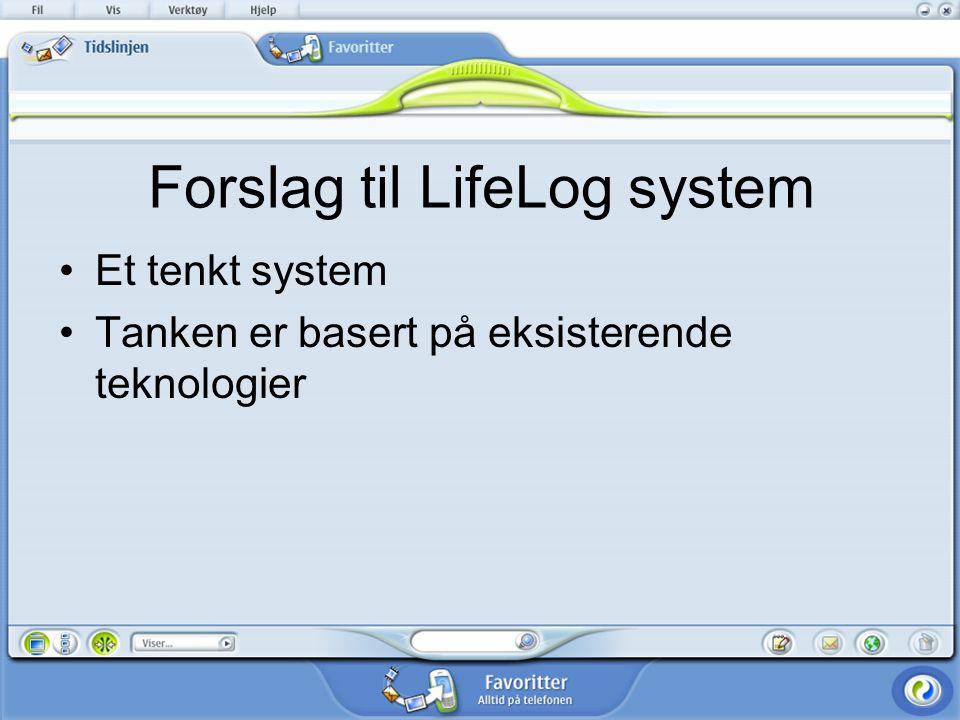 Forslag til LifeLog system