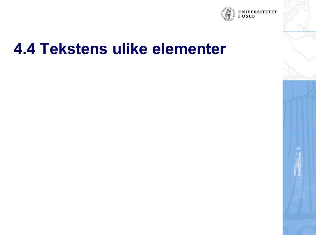 4.4 Tekstens ulike elementer