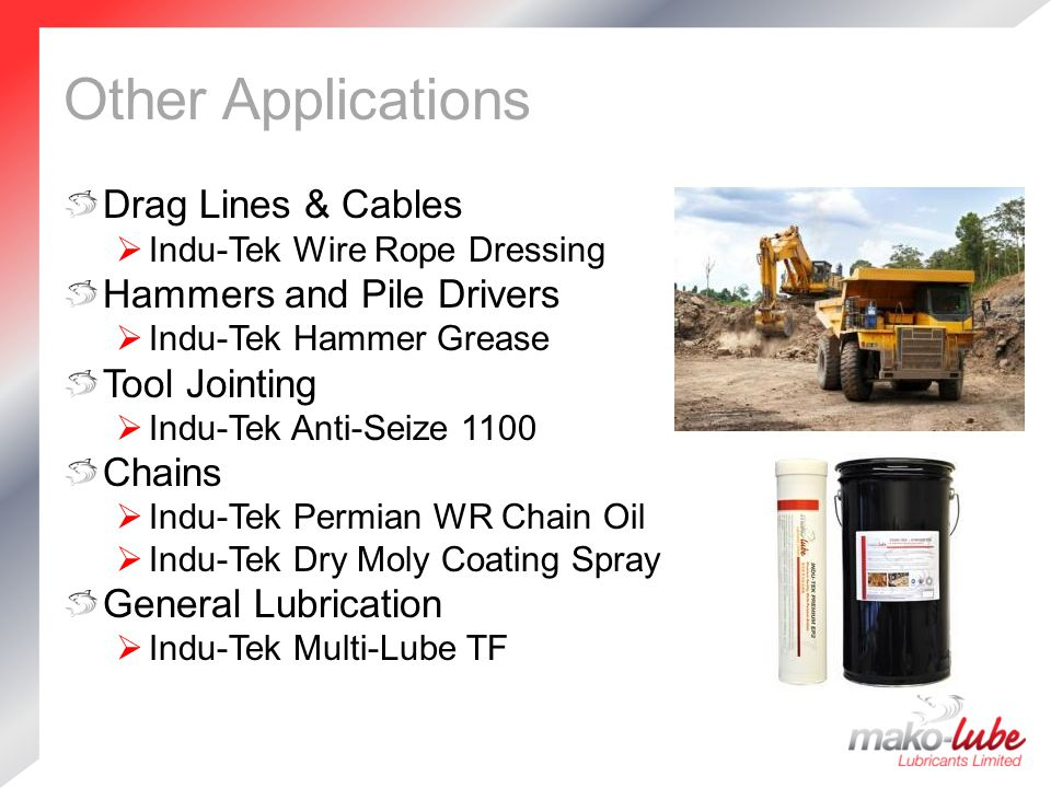 Other Applications Drag Lines & Cables Hammers and Pile Drivers