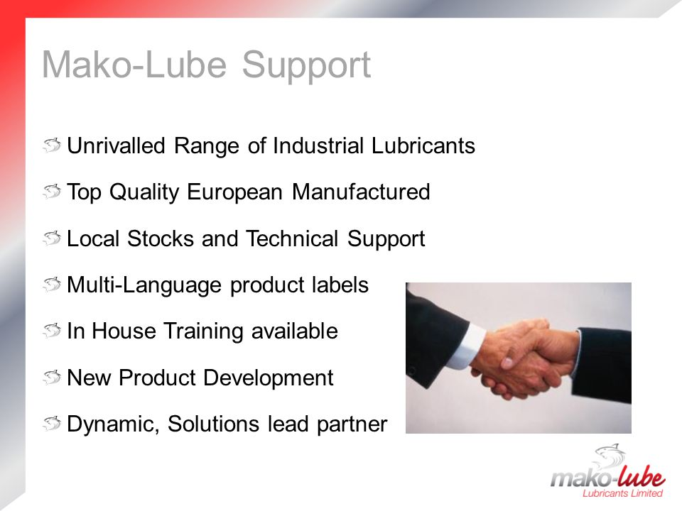 Mako-Lube Support Unrivalled Range of Industrial Lubricants