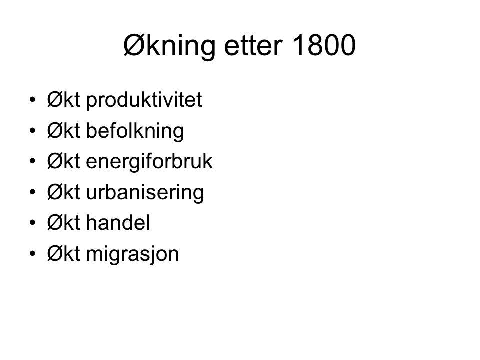 Økning etter 1800 Økt produktivitet Økt befolkning Økt energiforbruk