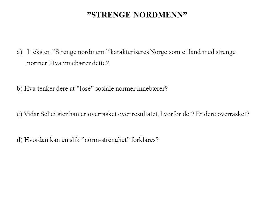 STRENGE NORDMENN I teksten Strenge nordmenn karakteriseres Norge som et land med strenge normer. Hva innebærer dette