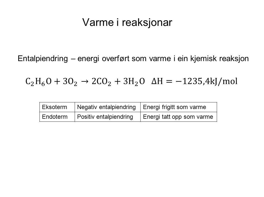 Varme i reaksjonar C 2 H 6 O+ 3O 2 → 2C O 2 +3H 2 O ΔH=−1235,4kJ/mol