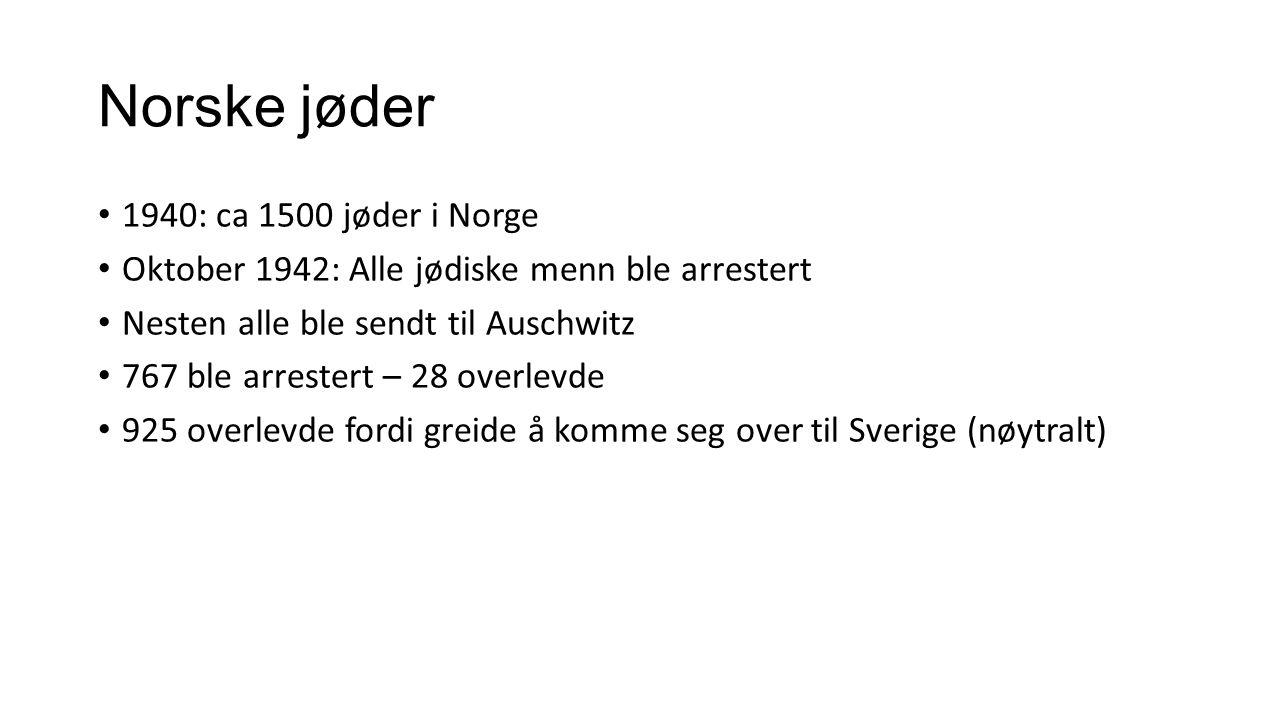 Norske jøder 1940: ca 1500 jøder i Norge