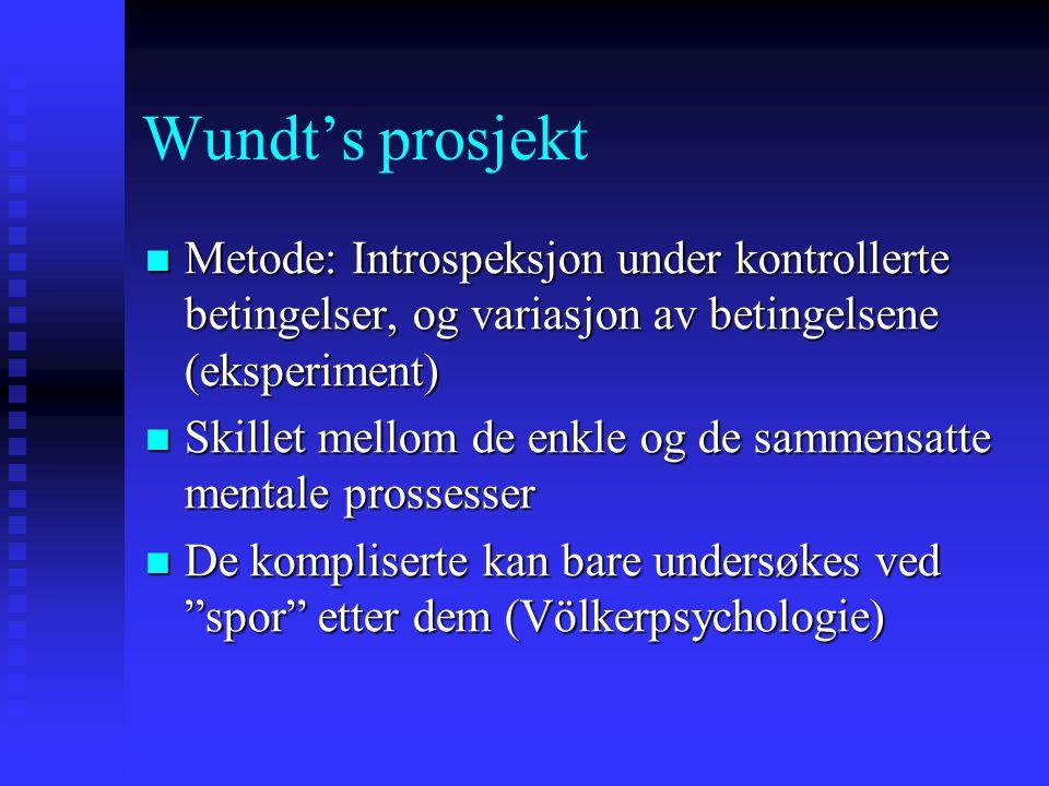 Wundt's prosjekt Metode: Introspeksjon under kontrollerte betingelser, og variasjon av betingelsene (eksperiment)