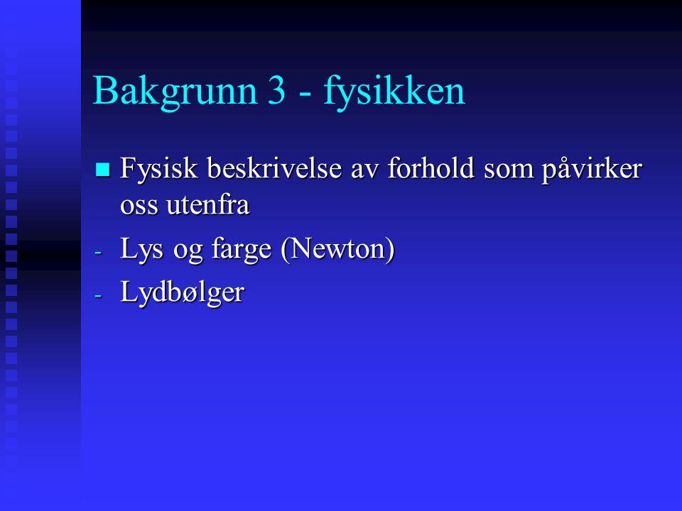 Bakgrunn 3 - fysikken Fysisk beskrivelse av forhold som påvirker oss utenfra. Lys og farge (Newton)