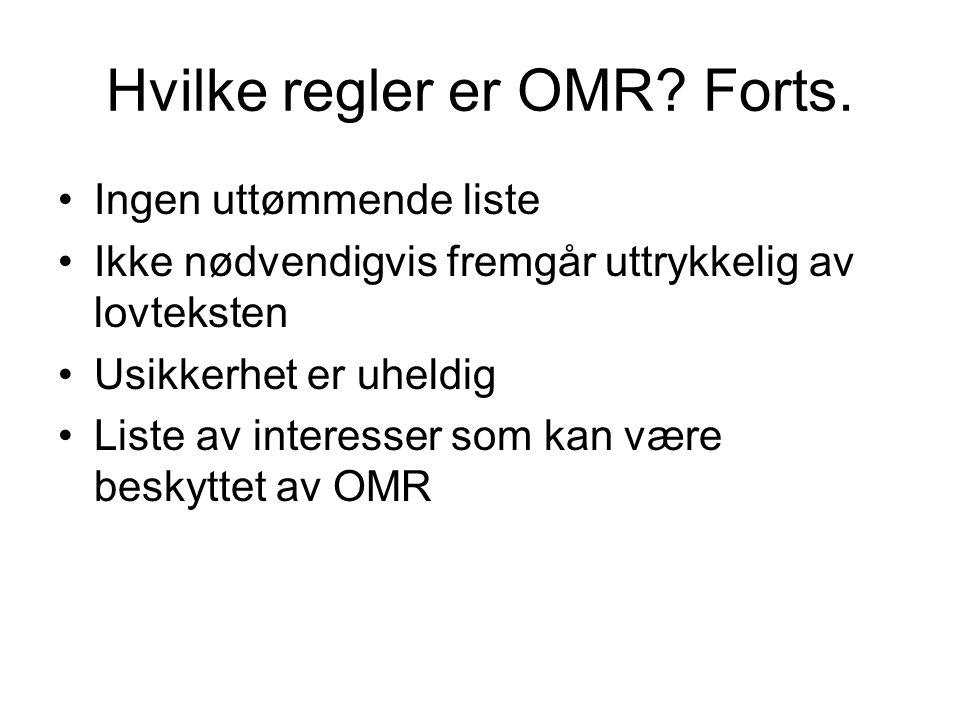 Hvilke regler er OMR Forts.