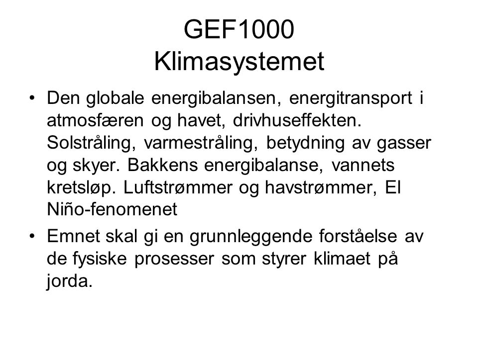 GEF1000 Klimasystemet