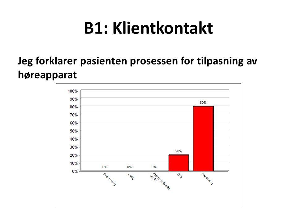 B1: Klientkontakt Jeg forklarer pasienten prosessen for tilpasning av høreapparat.