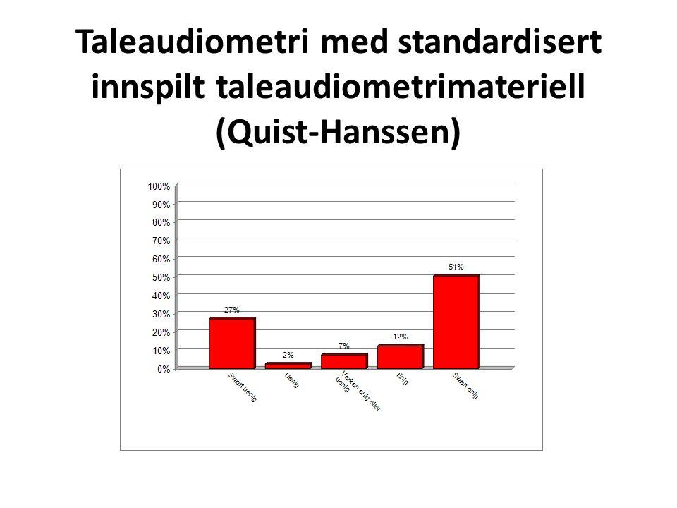 Taleaudiometri med standardisert innspilt taleaudiometrimateriell (Quist-Hanssen)